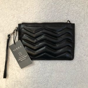 Serra Leather Wristlet. Chevron quilted.